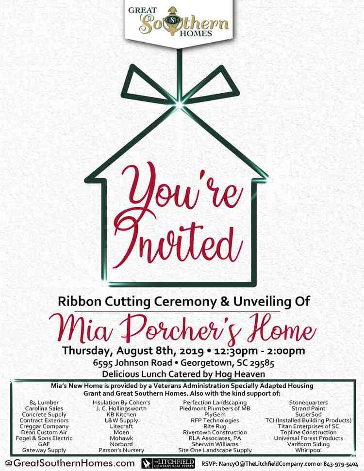 Ribbon Cutting Ceremony and Unveiling of Mia Porcher's Home